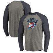 Oklahoma City Thunder Fanatics Branded Primary Logo Raglan Long Sleeve T-Shirt - Heathered Gray