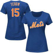 Tim Tebow New York Mets Majestic Women's Official Name & Number T-Shirt - Royal