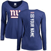 New York Giants NFL Pro Line Women's Personalized Backer Long Sleeve T-Shirt - Royal