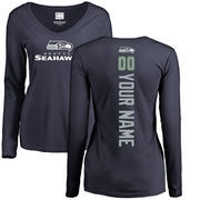 Seattle Seahawks NFL Pro Line Women's Personalized Backer Long Sleeve T-Shirt - Navy