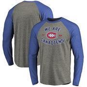 Montreal Canadiens Hometown Collection Quebec Tri-Blend Raglan Long Sleeve T-Shirt - Ash/Royal