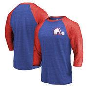 Quebec Nordiques Fanatics Branded Refresh Shift 3/4-Sleeve Raglan T-Shirt - Royal/Red