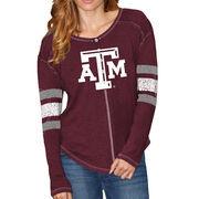 Texas A&M Aggies Original Retro Brand Women's Sleeve Striped Henley Long Sleeve T-Shirt - Maroon