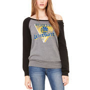 Golden State Warriors Let Loose by RNL Women's Eighty Something Wide Neck Sweatshirt - Heathered Gray/Black
