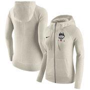 UConn Huskies Nike Women's Gym Vintage Full-Zip Hoodie - Cream