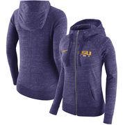 LSU Tigers Nike Women's Gym Vintage Full-Zip Hoodie - Heathered Purple
