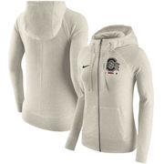 Ohio State Buckeyes Nike Women's Gym Vintage Full-Zip Hoodie - Cream