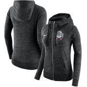 Ohio State Buckeyes Nike Women's Gym Vintage Full-Zip Hoodie - Heathered Black