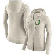 Oregon Ducks Nike Women's Gym Vintage Full-Zip Hoodie - Cream
