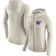 Washington Huskies Nike Women's Gym Vintage Full-Zip Hoodie - Cream