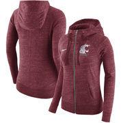 Washington State Cougars Nike Women's Gym Vintage Full-Zip Hoodie - Crimson