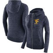 West Virginia Mountaineers Nike Women's Gym Vintage Full-Zip Hoodie - Heathered Navy