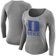 Duke Blue Devils Nike Women's Logo Long Sleeve Tri-Blend T-Shirt - Heathered Gray