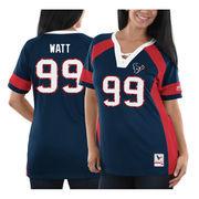 J.J. Watt Houston Texans Majestic Women's Draft Him Name & Number Fashion V-Neck T-Shirt - Navy