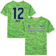 12 Fan Seattle Seahawks Youth Vector Camo Dri-Tek Name & Number T-Shirt - Neon Green