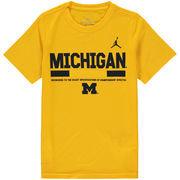 Michigan Wolverines Jordan Brand Youth Legend Staff Performance T-Shirt - Maize