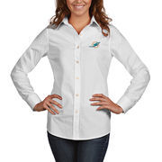 Miami Dolphins Antigua Women's Dynasty Woven Button Up Long Sleeve Shirt - White