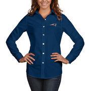 New England Patriots Antigua Women's Dynasty Woven Button Up Long Sleeve Shirt - Navy