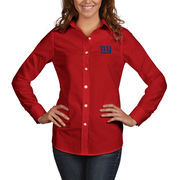 New York Giants Antigua Women's Dynasty Woven Button Up Long Sleeve Shirt - Red