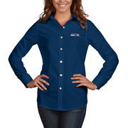 Seattle Seahawks Antigua Women's Dynasty Woven Button Up Long Sleeve Shirt - College Navy