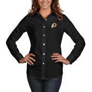 Washington Redskins Antigua Women's Dynasty Woven Button Up Long Sleeve Shirt - Black