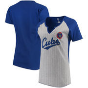 Chicago Cubs Majestic Women's Cooperstown Collection From the Stretch Pinstripe Notch Neck T-Shirt - Gray/Royal