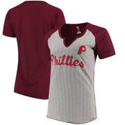 Philadelphia Phillies Majestic Women's Cooperstown Collection From the Stretch Pinstripe Notch Neck T-Shirt - Gray/Maroon