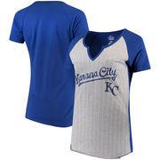 Kansas City Royals Majestic Women's From the Stretch V-Notch T-Shirt - Gray/Royal