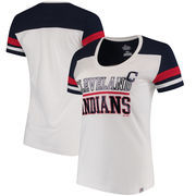 Cleveland Indians Majestic Women's Overwhelming Victory T-Shirt - White/Navy