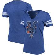New York Mets Majestic Women's Slugging Percentage V-Notch T-Shirt - Royal/White