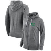 North Texas Mean Green Nike Women's Gym Vintage Full-Zip Hoodie - Heathered Gray