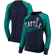 Seattle Mariners G-III 4Her by Carl Banks Women's Perfect Pitch Pullover Sweatshirt - Navy/Aqua