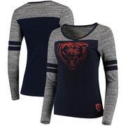 Chicago Bears Women's Juniors Secret Fan Long Sleeve Football T-Shirt - Navy/Heathered Gray
