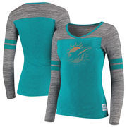 Miami Dolphins Women's Juniors Secret Fan Long Sleeve Football T-Shirt - Aqua/Heathered Gray