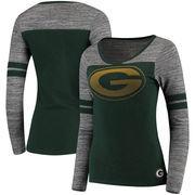 Green Bay Packers Women's Juniors Secret Fan Long Sleeve Football T-Shirt - Green/Heathered Gray