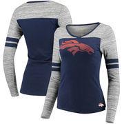 Denver Broncos Women's Juniors Secret Fan Long Sleeve Football T-Shirt - Navy/Heathered Gray