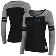 Carolina Panthers Women's Juniors Secret Fan Long Sleeve Football T-Shirt - Black/Heathered Gray