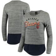 Chicago Bears Women's Juniors Shirt Tail Layered Long Sleeve T-Shirt - Heathered Gray/Navy