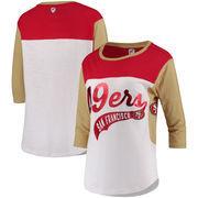 San Francisco 49ers Hands High Women's Season Pass 3/4-Sleeve T-Shirt - White/Gold