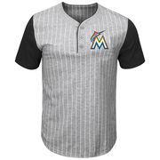 Miami Marlins Majestic Big & Tall Life or Death Pinstripe Henley T-Shirt - Gray/Black