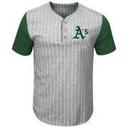 Oakland Athletics Majestic Big & Tall Life or Death Pinstripe Henley T-Shirt - Gray/Green
