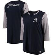 New York Yankees Majestic Women's Plus Size Above Average 3/4-Sleeve Raglan T-Shirt - Navy/Gray