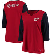 Washington Nationals Majestic Women's Plus Size Above Average 3/4-Sleeve Raglan T-Shirt - Red/Navy