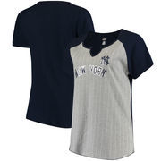 New York Yankees Majestic Women's Plus Size From The Stretch Pinstripe V-Notch T-Shirt - Gray/Navy