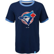 Toronto Blue Jays Majestic Youth Baseball Stripes Cooperstown Collection Ringer T-Shirt - Navy