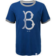 Brooklyn Dodgers Majestic Youth Baseball Stripes Cooperstown Collection Ringer T-Shirt - Royal