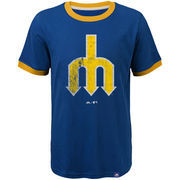 Seattle Mariners Majestic Youth Baseball Stripes Cooperstown Collection Ringer T-Shirt - Royal