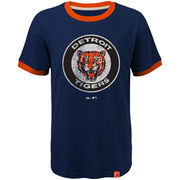 Detroit Tigers Majestic Youth Baseball Stripes Cooperstown Collection Ringer T-Shirt - Navy