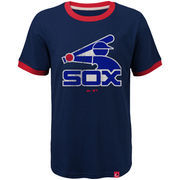 Chicago White Sox Majestic Youth Baseball Stripes Cooperstown Collection Ringer T-Shirt - Navy