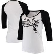Chicago White Sox 5th & Ocean by New Era Women's Baby Jersey 3/4-Sleeve Raglan T-Shirt - White/Black